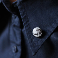 Full Moon collar brooch - Space collar pin - tiny round clips