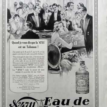 Eau de Cologne 4711 original advertisement, vintage advertising poster original art deco ad from 1927 framing poster A3 French magazine page