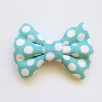 Blue with White Dots Bow (Handmade Bow / Bow Tie / or Headband)