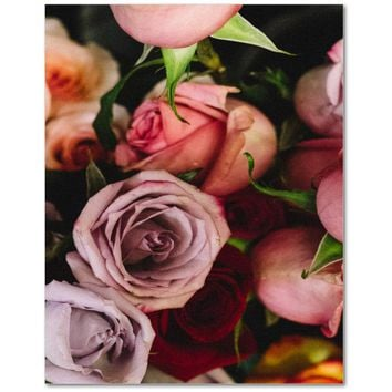Pink Flamingo Flowers Rolled Canvas Photo Print