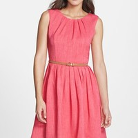 Petite Women's Ellen Tracy 'Kenya' Belted Pleated Cotton Fit & Flare Dress
