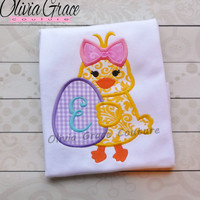Girls Easter Shirt, Easter Chick Shirt, Easter Egg Shirt, Embroidered Applique Shirt or Bodysuit