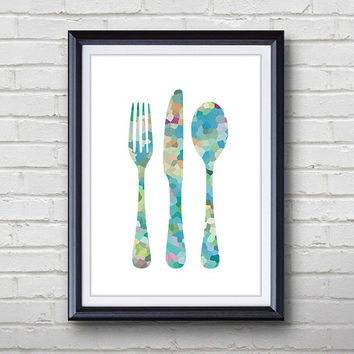 Cutlery Fork Knife Spoon Kitchen Print Home Living Cutlery Painting Kitchen Wall Art