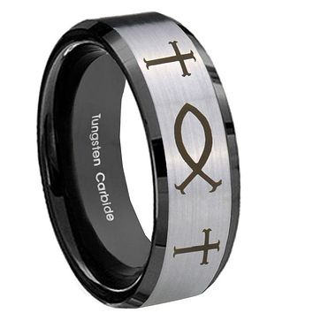 10mm Fish & Cross Beveled Brushed Silver Black Tungsten Men's Wedding Ring