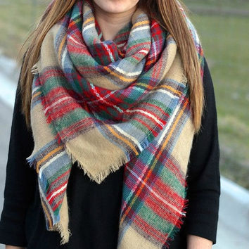 Plaid Blanket Scarf, square scarf, infinity scarf, winter scarf, scarves, Oversized Multi Color Scarf