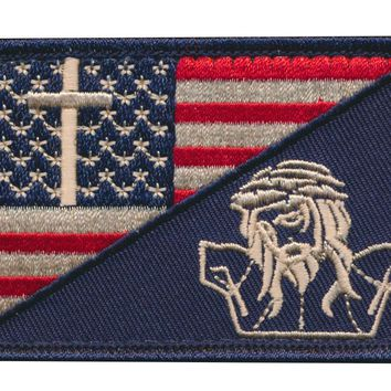 Tactical USA Flag Christian Cross Jesus Crucifixion Embroidered Patch