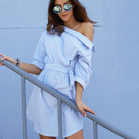 Summer Shaped Shirt Dress One Piece Dress [11423621071]