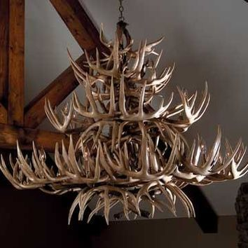 """The Grand Teton"" White Tail Antler Chandelier -- Free Shipping"