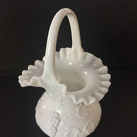 Kanawha Milk Glass Basket, Grape Leaf Crimped Milk Glass Basket