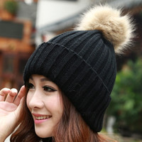 New Women's Knit Cap Beanie Hat With Fur Winter Slouch Elastic AP = 1932742084