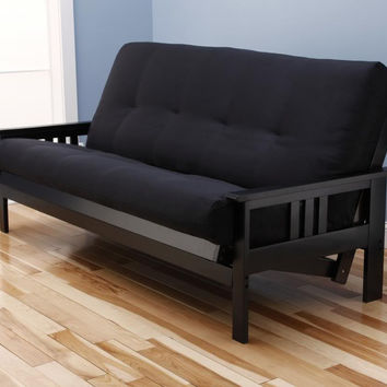 Woodbury Full Size Futon Sofa With Suede Innerspring Mattress, Black Painted Hardwood Frame, Black