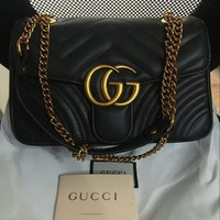 DCCK Gucci-Handbag-Marmont-Matelasse-Women-Quilted-Leather-Crossbody-Bag