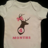 Monthly Onesuits Girl or Boy Deer Country Baby Photo Prop. New Baby Gift. Baby Shower Gift