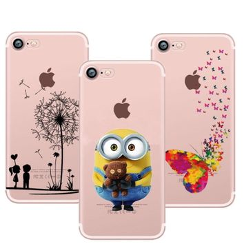Minions Mickey & Minnie Cat Kiss Butterfly giraffe flamingo Soft TPU Phone Case For iPhone 7 8 Plus 6 6sPlus 5 5s SE X XR XS Max