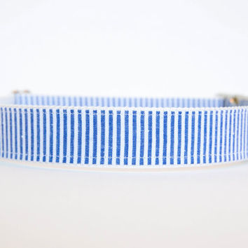 Seersucker Dog Collar in Navy Blue