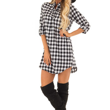 Black and White Checkered Dress with 3/4 Sleeves