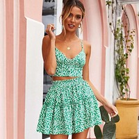 Fashion Summer Beach Two Piece Outfits For Women Tracksuit 2 piece Set Sexy Floral