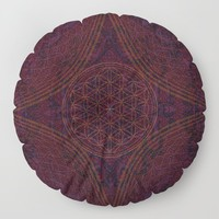 'Nirvana's Within' Burgundy Purple Red Gold Bohemian Design Floor Pillow by inspiredimages