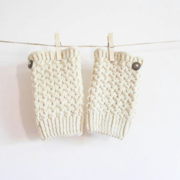 BOOT CUFF // Knit  Boot cuff, Cream Fantasy pattern boot cuffs, wool boot toppers, knit boot topper, leg warmer, gift for her,
