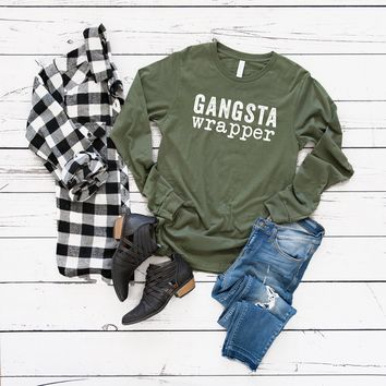 Gangsta Wrapper Long Sleeve Graphic Tee