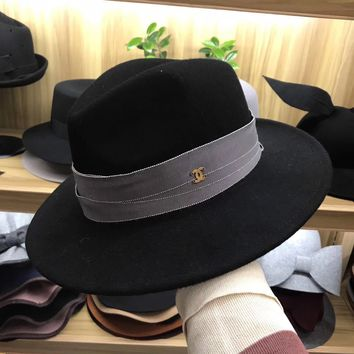 """""""Chanel"""" Autumn Winter Casual Fashion All-match Retro Jazz Cap Wool Large Brimmed Hat Women Top Hat"""