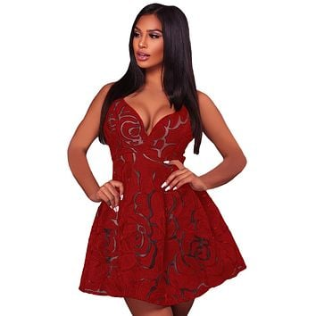 Red Rose Lace Illusion Sexy Skater Dress