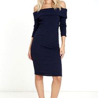 Too Good Navy Blue Off-the-shoulder Sweater Dress
