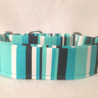 "Graffiti Abstract Stripes Turquoise/Black Martingale or Quick Release Collar 5/8"" 3/4"" 1"" Martingale 1.5"" Collar or 2"" Buckle Collar"