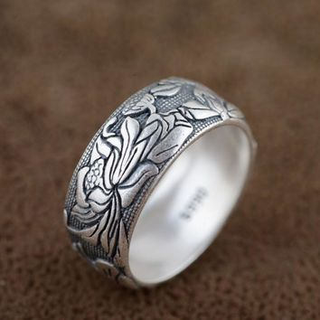 V.YA Pure 925 Sterling Silver Rings Flower Pattern New Fashion 100% S925 Solid Sterling Silver Ring for Women Men Jewelry