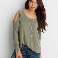 AEO Soft & Sexy Cold Shoulder T-Shirt, Olive