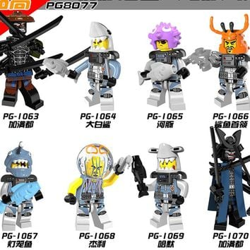 Ninjagoes legoingly Figure PG8077 Garmadon Shark Army Great White Puffer Lantern fish Lead Crab Jerry Hamer Building Blocks Toys