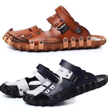 399b8247a Men Sandals Breathable Casual Slippers Plus Size Pu Leather Men s Beach  Shoes