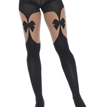 6dbb3248f Leg Avenue Female Opaque Illusion Garterbelt Tights With Front And Back Bow  7732