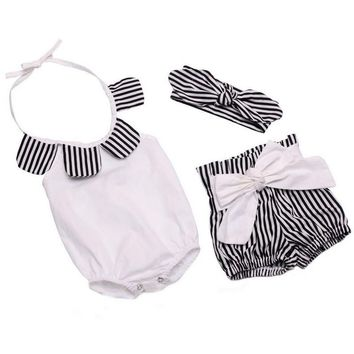 Striped Baby Girls Clothes Summer Cotton Baby Rompers+Short Pant+Girls Headbands Ruffled Newborn Baby Clothing Toddler Outfits
