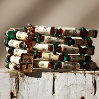 Asian Inspired Upcycled Book Jewelry: Bracelet - Chinese Language Book With Glass and Malachite Beads