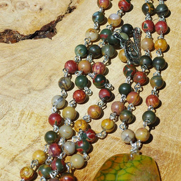 Picasso Jasper and Dragon Vein Agate Stone Statement Necklace ~  Rope Necklace  ~ Agate Stone Pendant ~ Extra Long Boho Necklace