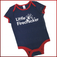 4th of July LITTLE FIRECRACKER baby Onesuit bodysuit creeper one piece Independance Day shower gift