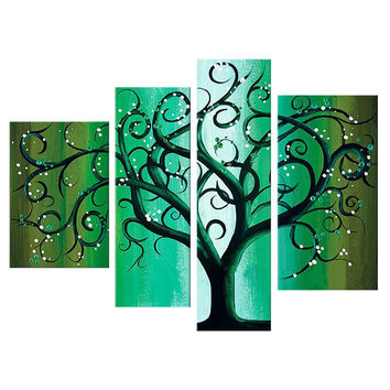 Green Contemporary Tree Landscape Canvas Wall Art Oil Painting