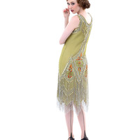Unique Vintage Green & Silver Embroidered Reproduction 1920s Flapper Dress