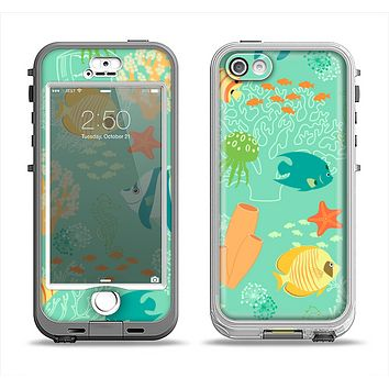 The Colorful Bright Saltwater Fish Apple iPhone 5-5s LifeProof Nuud Case Skin Set