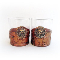 Pirates of the Caribbean Glasses, Steampunk Glasses Whiskey, Set 2 Pirate , skulls, Gothic, Pirate Theme, Pirate Skull, pirate gift