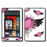 Fire Hearts with Wings  Kindle Fire Vinyl Decal Wrap by ItsASkin