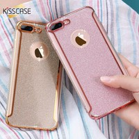 KISSCASE Girly Case For iPhone 6 6S 7 5 5S SE 6 7 Plus Case Ultra Slim Clear Glitter Powder Diamond Back Cover For iPhone 5 6 7