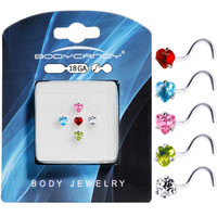 18 Gauge Stainless Steel Heart CZ Nose Ring Pack   Body Candy Body Jewelry