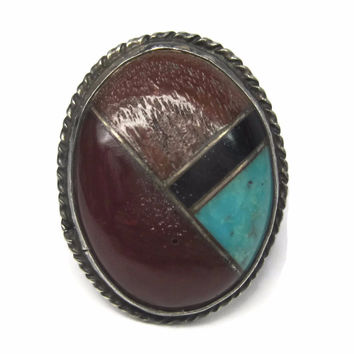 Vintage Navajo Inlay Ring Sterling Size 7 Turquoise Coral Jet Redstone