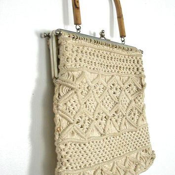 Vintage Crochet Handbag / 70s handbag / macrame bag / crochet purse / boho handbag / hippie bag / crochet summer bag