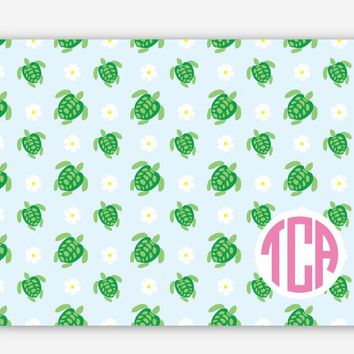Seaside Collection - Monogrammed Personalized Folded Stationery - Blank Inside - Turtle