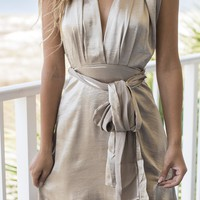 A Stolen Moment Gold Tie Dress