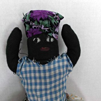 Vintage Handmade Black Cloth Topsy Turvy Doll with Baby Painted Faces