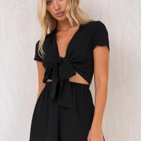 Black Sweet Sahara Tie Front Playsuit